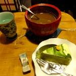 エミール・パコ - コーヒーぜんざい+抹茶ケーキのセット:750円