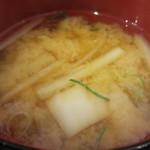 満マル - 白菜、大根、ねぎのみそ汁アップ