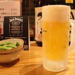 雅バードランド - キンキンに冷えた生ビール&お通し(枝豆)