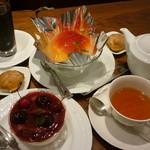マメノキ - アイス珈琲・フルーツノジュレ・アメリカンチェリーのデザート・紅茶14.6