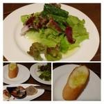 トラットリア アッカ - 共通・・野菜サラダとパン。パンの追加は無いようです。