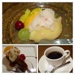 トラットリア アッカ - デザート・・上がウニパスタのデザート(桃のコンポートとアイス)  下:サービスランチのデザート(カタラーナ)  珈琲はエスプレッソと普通の珈琲から選べます。