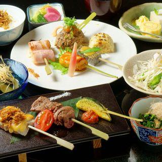 ランチ串会席!料理長おまかせの前菜、有機野菜、串、食事など