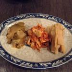 好好 - 前菜3種盛り合わせ シナチク・キムチ・ザーサイ