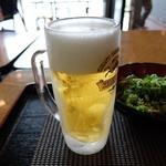 大阪じゅうべい ATC店 - 生ビール(たこ焼きセット)