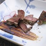 河内鴨料理 田ぶち - 肝の炭焼き