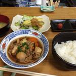 桐壺 - 日替り500円(茄子味噌天と煮物)