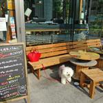 ワイアード カフェ - 木製のベンチと椅子
