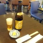 クルマヤ - ヱビス中瓶600円と無料のお通し(タクワン)