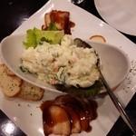 28585628 - 前菜の『ポテトサラダ』と『チャーシュー』&『バゲット』~♪(^o^)丿