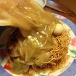 餃子の王将 - 餃子の王将 西院店の持ち帰り皿うどんは、セパレートなので餡を後かけ!(14.03)
