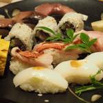 28594626 - 握り〜ヤリイカ、〆鯖、金目鯛炙り、巻物、玉子焼き