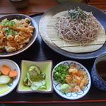 天小屋 - ざる麺殿セット(さくら丼タレ味、ざるそば)