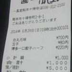 一風堂 - レシート(2014.06.29)