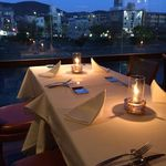 28649090 - 鴨川を眺めるテーブル