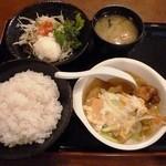 福寿亭 - ミニカツ玉定食 730円