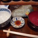 菱田屋 - めじまぐろとあおやぎ刺身定食 完食