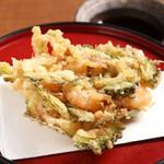 天ぷら ひさご - 海老とゴーヤのかき揚げ