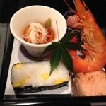 28685264 - 八寸…豆乳瀧川めん、箱寿司、大根の梅酢漬け他