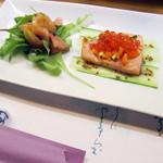 八重 - 料理写真:鮭いくらとサラダ【おまかせコース'14.6月】