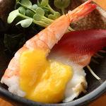 むらの - ホッキ貝と蒸し海老の黄身酢和え