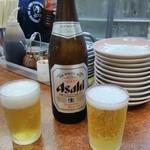 28697906 - キンキンに冷えたビール(中瓶)とグラスが出てくる~注ぐ~クイっーと飲む~シアワセ♪