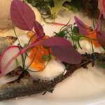 28706444 - 前菜盛り合わせ:フォアグラのパテ ブリオッシュ添え・生ハム・鮎のコンフィ キャビアソースで鱒の卵を添えて・花ズッキーニにリコッタチーズを詰めたフリット