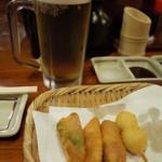 串八 - 串八 白梅町本店のビールと串カツ(14.07)