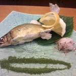 玄海鮨 - 焼物 鮎の塩焼き 抹茶塩添え