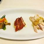 28729162 - 前菜(焼き豚・稚鮎のマリネ・蒸し鶏)