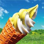 マキバ - 牧場生ソフトクリームと宇治抹茶ソフトクリームのミックス。 両方の味が一度に楽しめて人気です!!