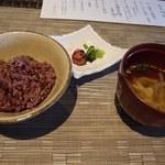 百名伽藍 - ご飯は沖縄県産赤米, 椀は中身汁です。