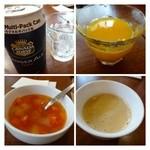 28763066 - ジンジャーエール・・生姜&炭酸共に優しい味わい。                        オレンジジュース・・100%じゃないかしらと言ってましたよ。                        ミネストロスープ・・お野菜タップリ。多分「珈琲」