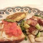 28764882 - 明石の蛸と白インゲンのマリネ                       マグロとトマト・リコッタチーズのブリスケッタ                       鰯のアマルフィ風