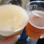 鳥勇 - プラスチック入り生ビーで乾杯☆乾杯の前に飲んである~(汗)。