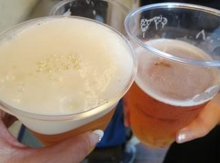 鳥勇 武蔵小山駅前店 - プラスチック入り生ビーで乾杯☆乾杯の前に飲んである~(汗)。