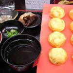 明石玉 十三味 - たまご焼き定食(850円)タコ飯、タコわさび、わかめ佃煮付き