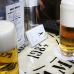 ビールスタンド重富 - 左一度注ぎ、右三度注ぎ