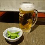 安乍希 - 生ビール(中)とお通しの枝豆