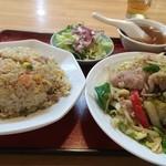 清華 - 料理写真:2014.06 五目炒飯と肉野菜炒め