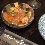 台湾創作キッチン RYU - この日のお通しは手羽先煮込み。日本の料理も板についてますね(*^^*)