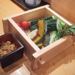 漁師伝説あさまる - 突き出しの野菜(480円・外税)×2人前