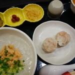 亜麺坊 - 朝粥定食(¥480)蟹シュウマイ付き