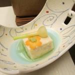 28813198 - 夕食(先付け:桜豆乳豆腐)