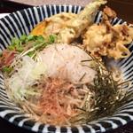 そば処 笑庵 - 野菜天ぷら(三種)ぶっかけおろし蕎麦