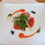 28823226 - オードブル  清水産虹鱒スモークとチーズのサラダ仕立て