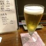 焼鳥食堂まさむね - グラス生ビール(350円)