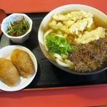 博多うどん小麦屋 - 肉ごぼうセット(並:880円)