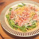 ココノハ - 桜えびと2種類のお豆の和ペペロンチーノ (1166円) '14 6月上旬