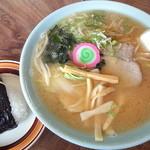 志満川食堂 - 味噌ラーメン_700円、おにぎり(梅)_160円